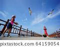 在京畿道華城市Je水道釣魚碼頭玩海鷗的女孩 64159054