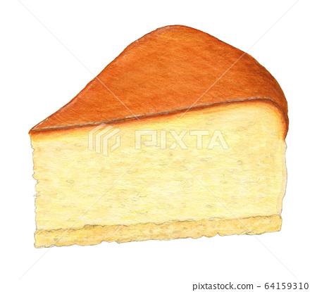 치즈 케이크 그린 수채화 64159310