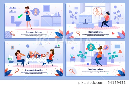 Pregnant Woman Body, Mental Health Vector Banners 64159451