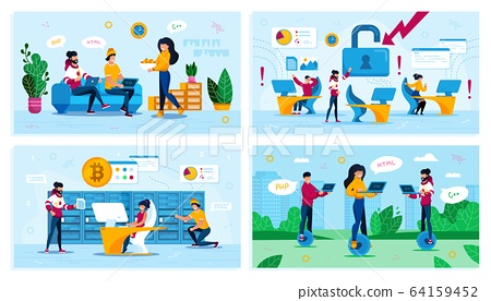 Programmer Leisure, Bitcoin Mining Vector Concepts 64159452
