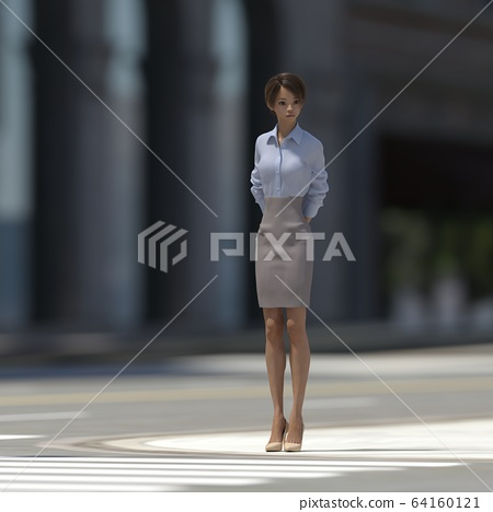 A woman crossing a pedestrian crossing perming3DCG illustration material 64160121