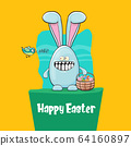 Happy easter greeting card with cute cartoon blue rabbit holding easter basket with stack of colorful eggs. Easter egg hunt hand drawn concept illustration banner. 64160897