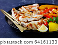 Homemade grilled chicken breast strips with pepper 64161133