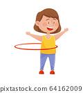 Cute Girl in Sportswear Hula Hooping Vector Illustration 64162009