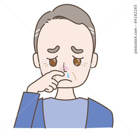 Middle-aged man with a runny nose 64162265