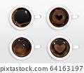 Cups of coffee with heart shape from cream foam 64163197