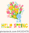 Vector card with flowers, rabbit and Hello Spring lettering 64163476