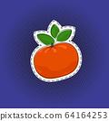 Fruit mandarin sticker on a pop art background 64164253