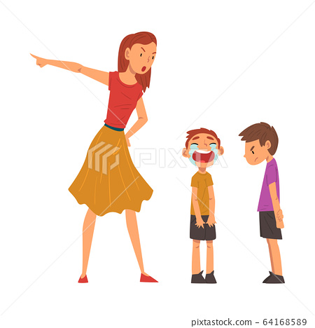 Angry Mother Scolding Her Naughty Sons, Relationships Between Kids and Parent, One Boy Crying Bitterly Vector Illustration 64168589