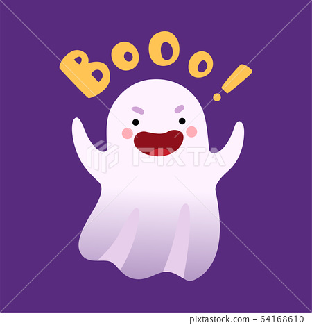 White Ghost Saying Boo, Cute Halloween Spooky Character Vector Illustration 64168610