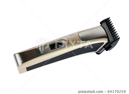 Close-up of modern hair clipper isolated on white background 64170259