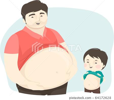Kid Boy Man Dad Show Big Tummy Illustration 64172628