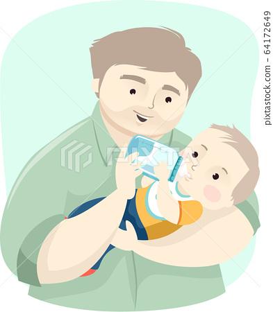 Dad Baby Boy Drink Milk Illustration 64172649