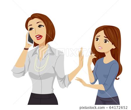 Teen Girl Mom Busy Illustration 64172652