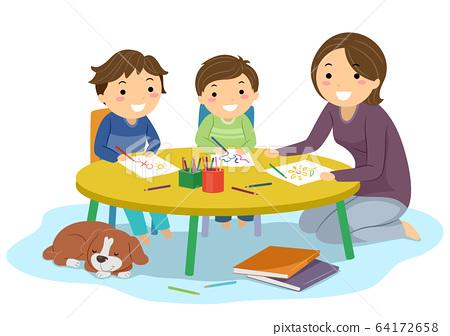 Stickman Kids Boys Home School Draw Illustration 64172658