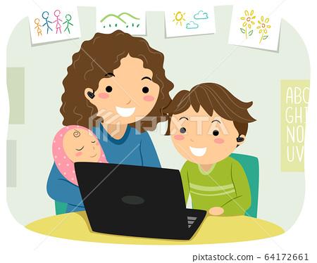 Stickman Kid Boy Mom Home School Illustration 64172661