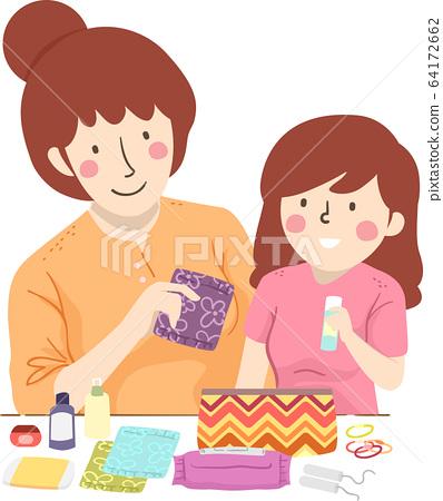 Mom Kid Teen Preparing Period Kit Illustration 64172662
