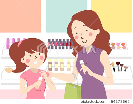 Mom Teach Teen Kid Make Up Shopping Illustration 64172663
