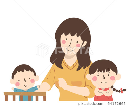 Kids Mom Baby Jealous Siblings Illustration 64172665