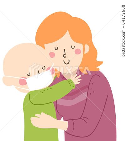 Kid Mom Hug Support Leukemia Illustration 64172668