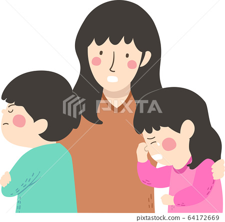 Kid Siblings Conflict Mother Cry Illustration 64172669