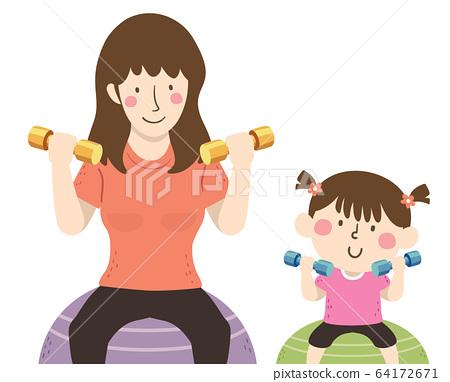 Kid Girl Mom Dumbbells Exercise Ball Illustration 64172671