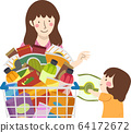 Kid Girl Mom Grocery Snacks Illustration 64172672