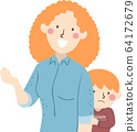 Kid Boy Timid Parent Mom Talking Illustration 64172679