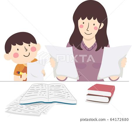 Kid Boy Mother Check Homework Illustration 64172680