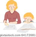 Kid Boy Mother Make Homework Illustration 64172681