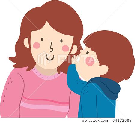 Kid Boy Mom Whisper Illustration 64172685