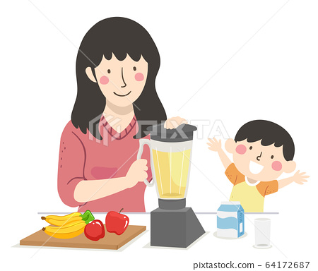 Kid Boy Mom Fruit Smoothie Illustration 64172687