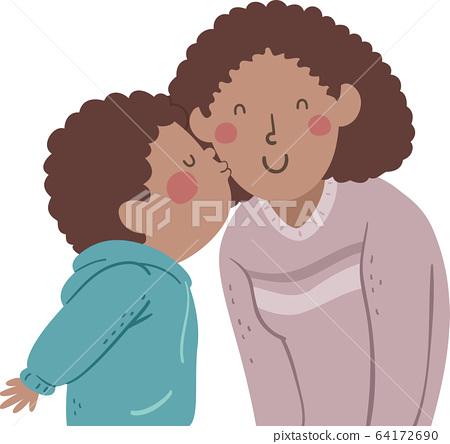 Kid Boy Black Kiss Mom Cheek Illustration 64172690