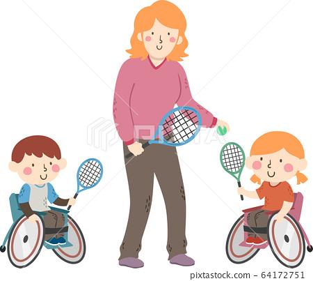 Kids Wheel Chair Tennis Coach Illustration 64172751