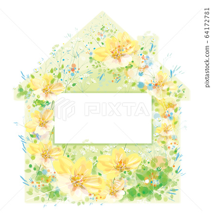 Vector  floral house symbol. Home sweet home. 64172781