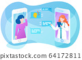 Online doctor app interface, sick woman asking therapist about headache, remote medical consultation, vector illustration. 64172811