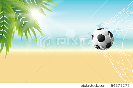 football with sunlight on the beach in the day time 64173272