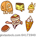 Sweets character roll cake pancake 64173940