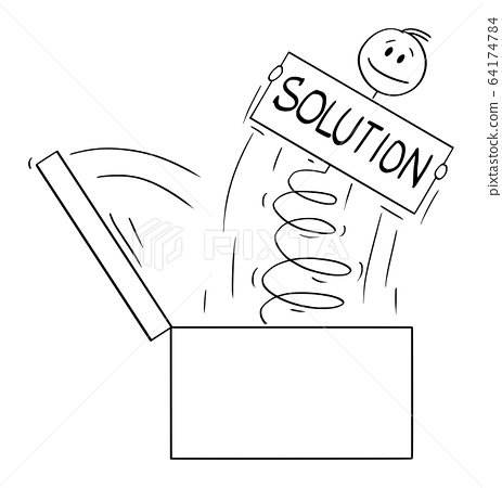 Vector Cartoon Illustration of Man or Businessman Jumping Out of the Box on Spring With Problem Solution Sign 64174784