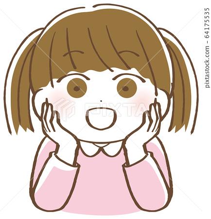 Illustration of a girl wearing a cheek stick 64175535
