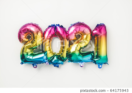 Rainbow colored Foil balloons in the form of numbers 2021. New year celebration 64175943