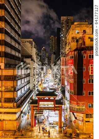 Hong Kong Traditional Street, Aerial night view of the Temple Street Night market. 64177127