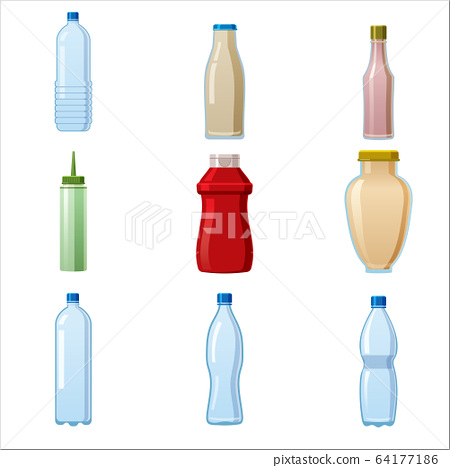 Bottles sauce and water set. Soy Wasabi Mustard Ketchup Mayonnaise Creamy sauces water mineral. Food template, mock up plastic packaging, glass bottle. Vector cartoon style illustration isolated white 64177186