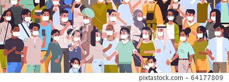 crowd of people wearing medical masks novel coronavirus 2019-nCoV epidemic disease pandemic 64177809