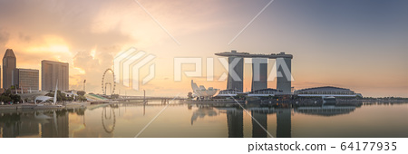 Business district and Marina bay in Singapore 64177935