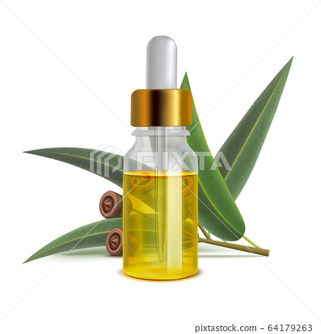 Eucalyptus Oil Bottle with Leaves in Realistic Style 64179263