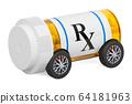 Drug delivery. Medical bottle with car wheels 64181963