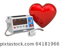 Defibrillator with red heart, 3D rendering 64181966