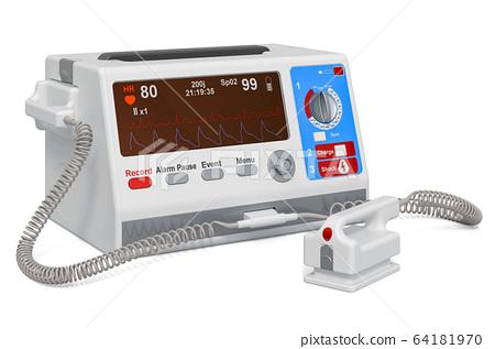 Automated external defibrillator, 3D rendering 64181970