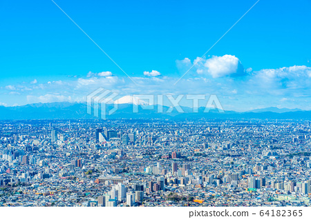 도시 풍경 선샤인 시티 60 전망대에서 본 관동 평야 【도쿄】 64182365